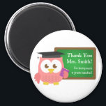 """Thank you, Teacher Appreciation Day, Cute Pink Owl Magnet<br><div class=""""desc"""">Express your thanks to your teacher for being such a great teacher with this cute magnet. The design has a pink owl wearing a professor hat and a purple book in her wing. The green chalkboard has text on it which reads &quot;Thank you&quot; and &quot;For being such a great teacher!&quot;....</div>"""