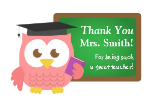 Thank You Teacher Reciation Day Cute Pink Owl Magnet
