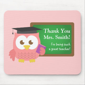 Thank you, Teacher Appreciation Day, Cute Pink Owl Mouse Pad