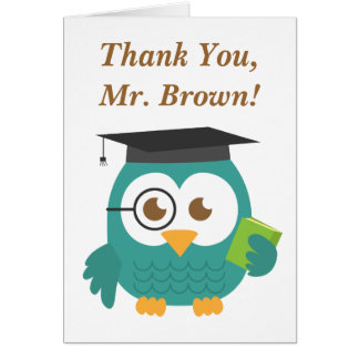 Thank You, Teacher Appreciation, Teacher Owl Card