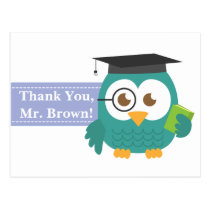 Thank You, Teacher Appreciation, Teacher Owl Postcard