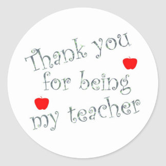 Thank you teacher classic round sticker