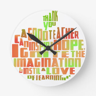 thank you teacher classroom gift clock quote apple