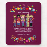 """Thank You, Teacher. Customizable Gift Mousepads<br><div class=""""desc"""">Thank You Teacher / Happy Teacher Appreciation Day / Happy Teacher Appreciation Week / Graduation Gift Mousepads for Teachers with a personalized text. Design created using licensed artwork by Alice Smith (www.clipart4resale.com). Matching cards, postage stamps and other products available in the Business / Occupation Specific / Education, Childcare Category of...</div>"""