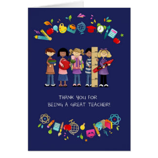 Thank You, Teacher. Customizable Greeting Cards