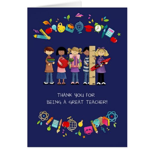 Thank You, Teacher. Customizable Greeting Cards Cards