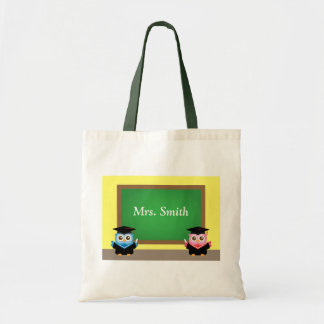 Thank you teacher, Cute Graduation Owls Tote Bags