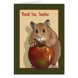Thank You Teacher: Cute Hamster With Red Apple Card