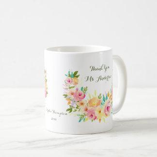 Thank you Teacher Floral Wreath Coffee Mug