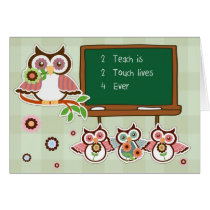 Thank You, Teacher. Funny Owls Design Cards