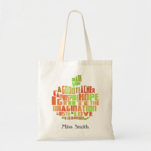 thank you teacher gift typography quote apple bag zazzle