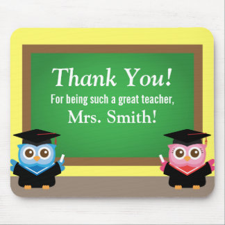 Thank you teacher, Graduation Farewell, Cute Owls Mouse Pad
