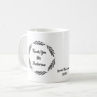 Thank you Teacher Leaf Wreath Coffee Mug