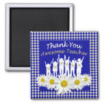 Thank You Teacher Magnet with Daisies and Kids