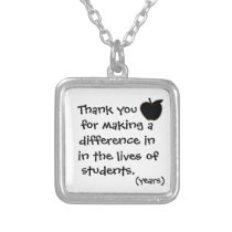 Thank you teacher necklace