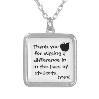 Thank you teacher necklace