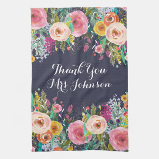 Thank You Teacher Painted Floral Kitchen Towel