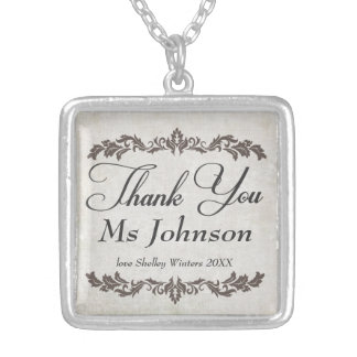 Thank You Teacher Personalized Message Necklace