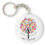 Thank you teacher rainbow heart tree gift keychain