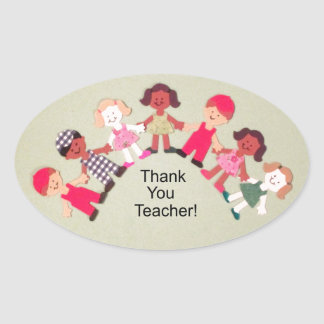 Thank You Teacher! Oval Stickers