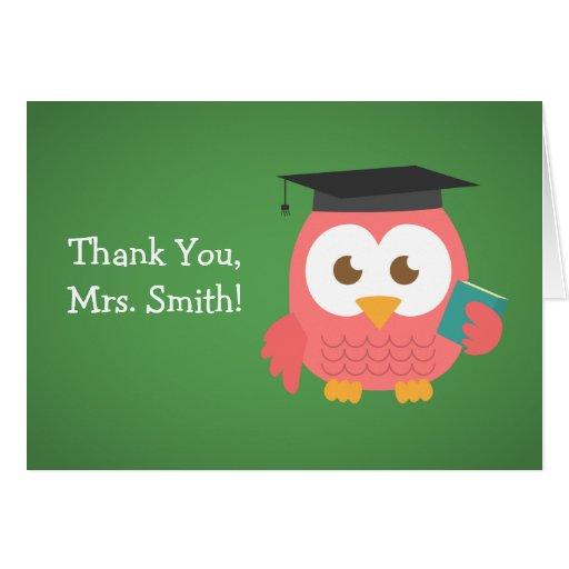 Thank You Teacher, Teacher Owl, Pink Greeting Card