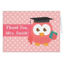Thank You Teacher, Teacher Owl, Pink Polka Dots