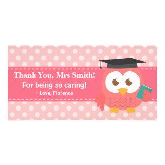 Thank You Teacher, Teacher Owl, Pink Polka Dots Card