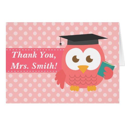 Thank You Teacher, Teacher Owl, Pink Polka Dots Cards