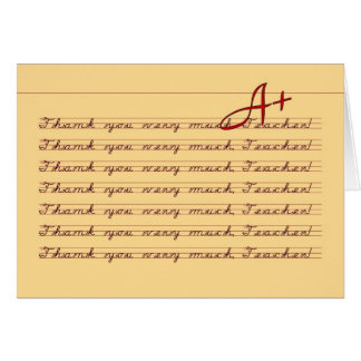 Thank You, Teacher, Vintage Penmanship Card