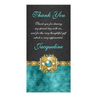 """""""thank you"""" teal black wedding party photo card"""