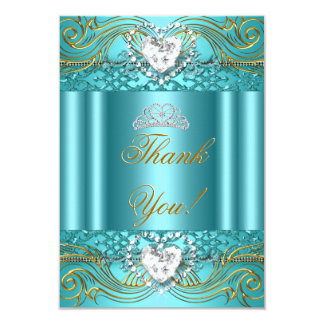 Thank You Teal Blue Gold Quinceanera Card