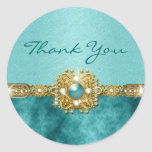 """""""Thank you"""" teal gold Classic Round Sticker"""