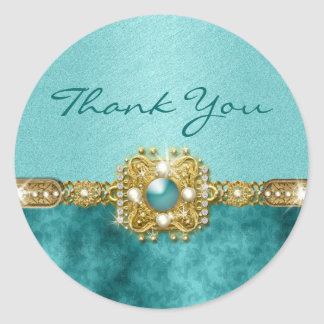 Thank you teal gold round sticker