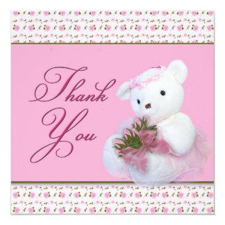 Thank You - Teddy Bear andRoses (Double-side Card) Card