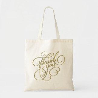 Thank You Text Design Diamonds & Gold Tote Bag