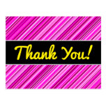 "[ Thumbnail: ""Thank You!"" + Thin Pink & Magenta Lines Pattern Postcard ]"