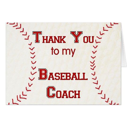 thank you to my baseball coach card zazzle