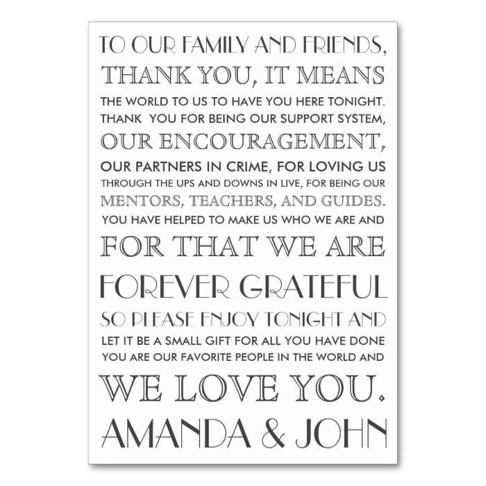 Thank You To Wedding Guests Card