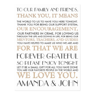 Thank you to wedding guests postcard