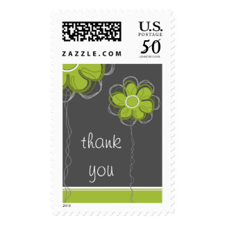 Thank You Trendy Floral Postage Stamp