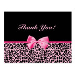 Thank You Trendy Pink And Black Leopard Ribbon Postcards