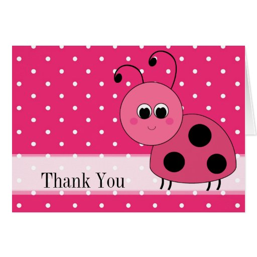Thank You Trendy Pink Ladybug Blank Notecard Stationery Note Card