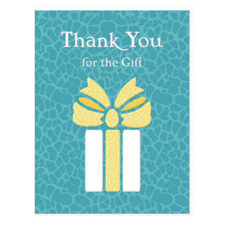 Thank You Trendy Teal and Yellow Animal Pattern Postcard