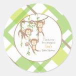 Thank you    Triplet Monkeys Baby Shower Sticker