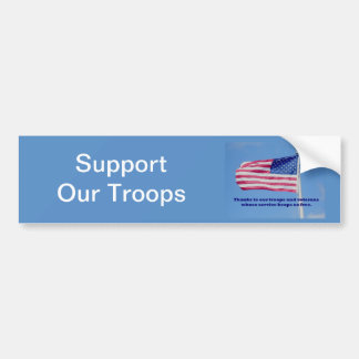Thank You Troops American Flag Bumper Sticker