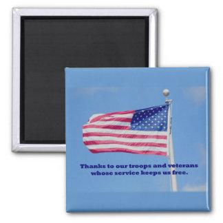 Thank You Troops American Flag Fridge Magnet