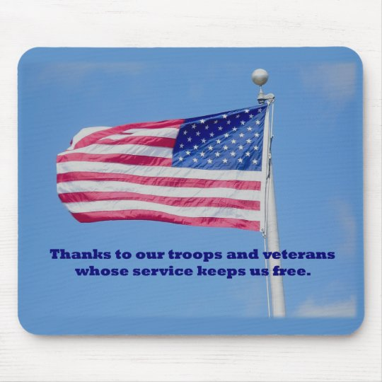 Thank You Troops American Flag Mouse Pad