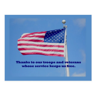 Thank You Troops American Flag Postcard