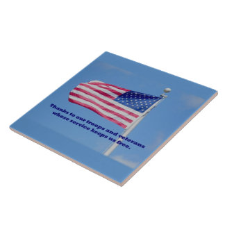 Thank You Troops American Flag Tile