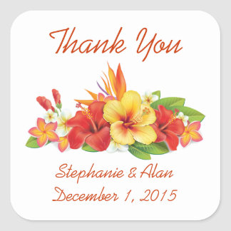Thank You Tropical Hibiscus Wedding Stickers